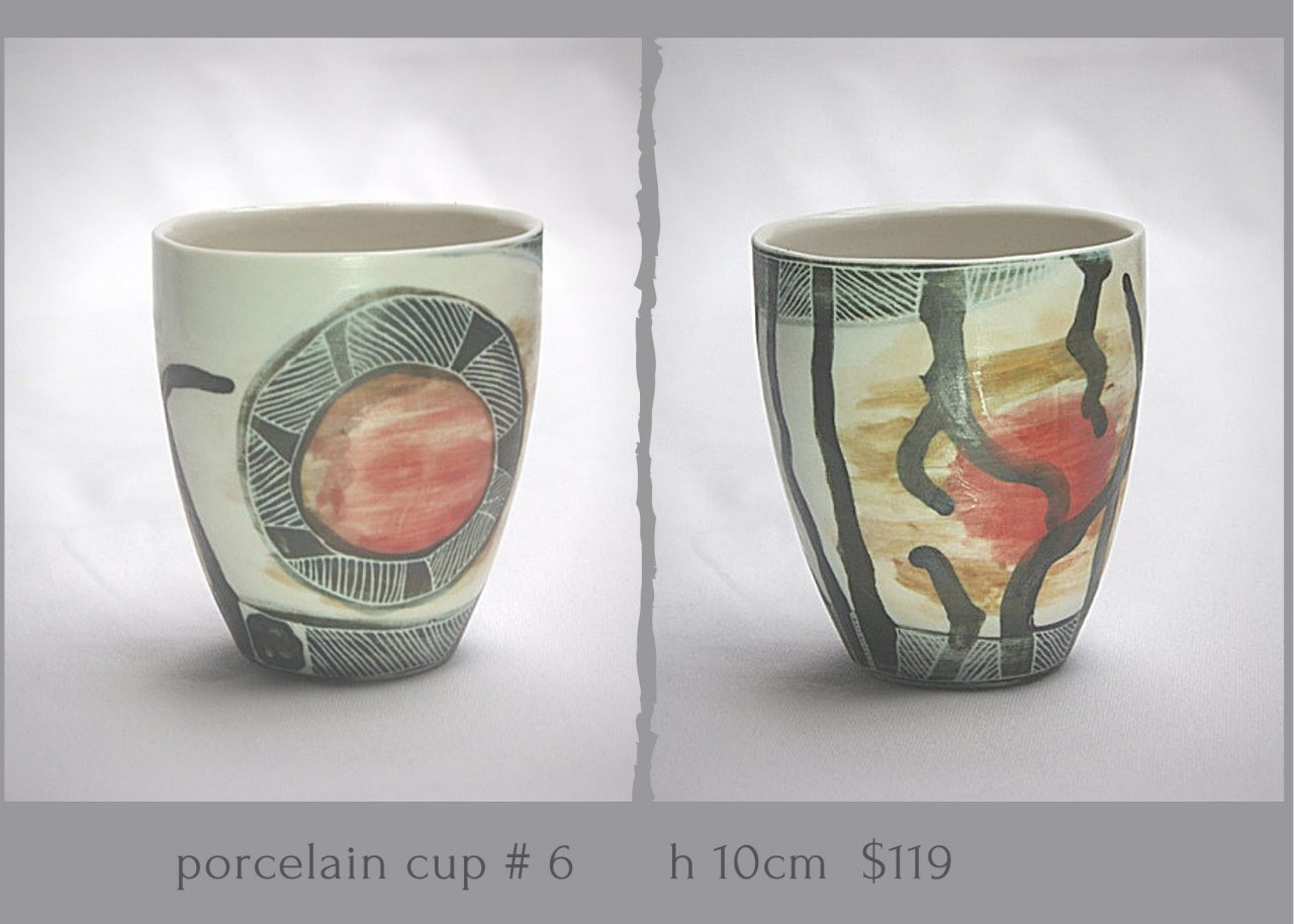 Porcelain Cup With Sgrafitto